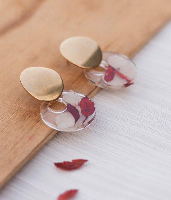 pendientes artesanales  resina con flores