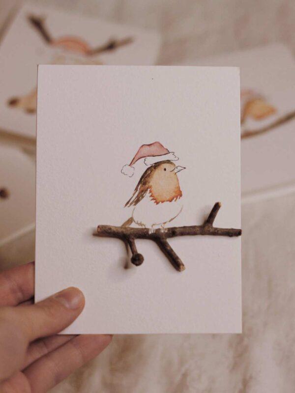 Tarjetas de navidad de pajaro perfectas para regalo.