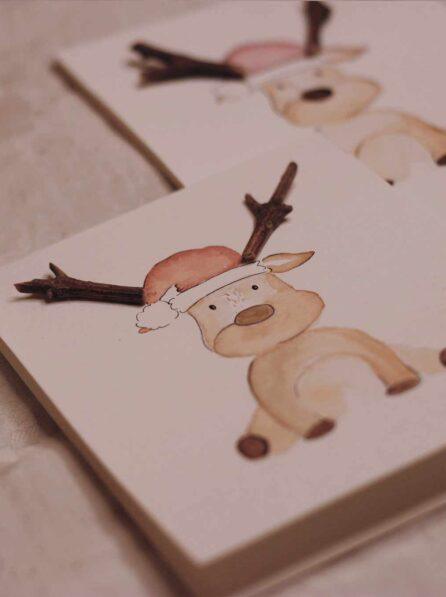 Tarjetas de navidad de reno perfectas para regalo.