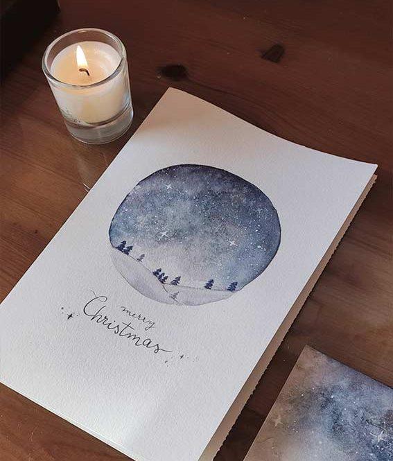 Tarjeta de navidad del cielo estrellado para regalo.