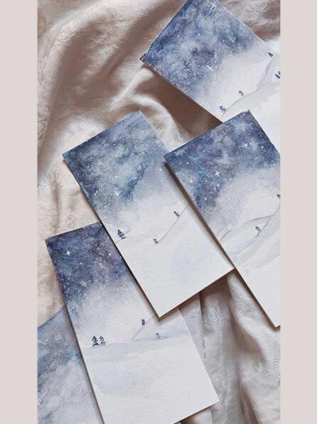 Tarjeta de navidad del cielo estrellado perfecta para regalo.