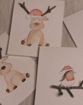 Tarjetas de navidad de reno y pajaro perfectas para regalo.
